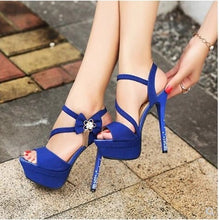 Load image into Gallery viewer, Shoes Women Summer High Heel Sandals with Rhinestone