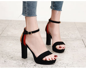 Korean Woman Shoes Buckle Platform Thick High-heeled Sandals
