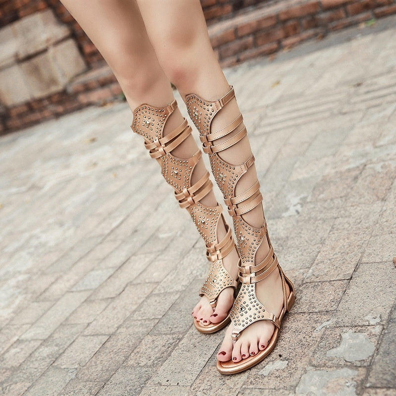 Summer women shoes casual Roman sandals with rivet