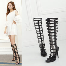 Load image into Gallery viewer, Rome Style Women Shoes Hollow-out High-heeled Stiletto Sandals