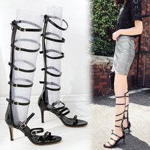Load image into Gallery viewer, Roman Style Women Shoes High Heel Gladiator Sandals with Belt Buckle