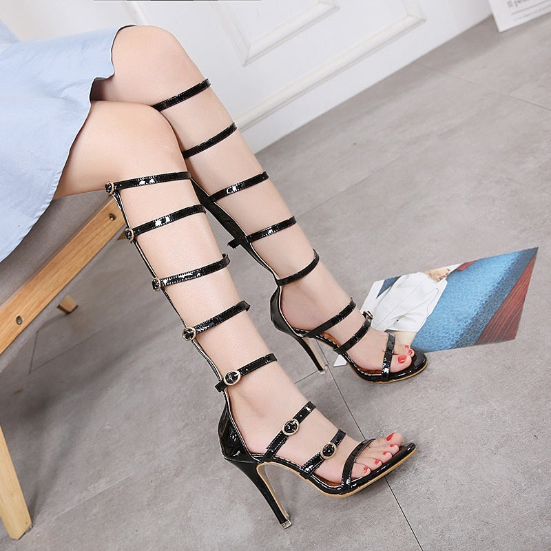 Roman Style Women Shoes High Heel Gladiator Sandals with Belt Buckle