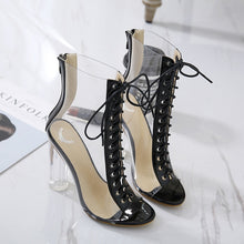 Load image into Gallery viewer, Lace Up Transparent High-heeled Fish Mouth Sandals