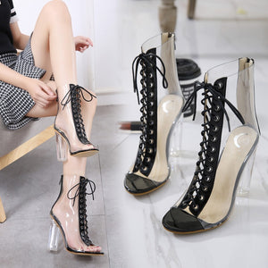 Lace Up Transparent High-heeled Fish Mouth Sandals