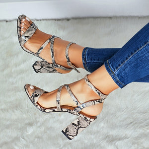 Sexy Women Shoes Serpentine Pattern High-heeled Sandals