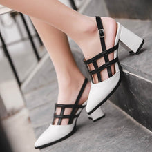 Load image into Gallery viewer, Women Shoes Mix Colored Pointed Toe Buckle Chunky Sandals