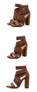 Rome Women Shoes Cross-straps High-heeled Chunky Sandals