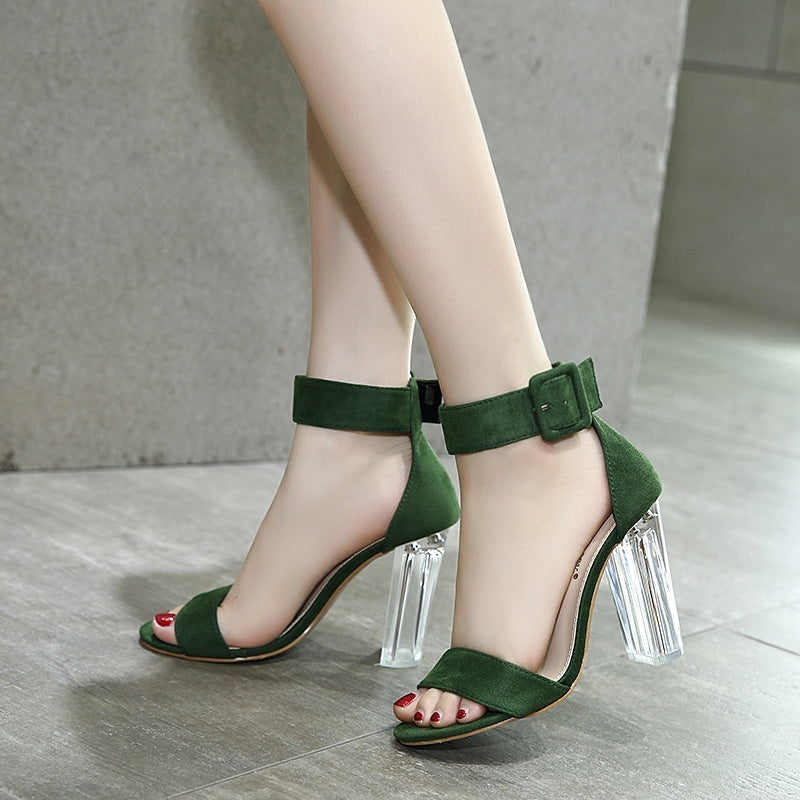 Korean Women Shoes Transparent Thick High Heel Sandals
