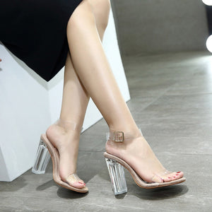 Sexy Women Shoes Buckle Transparent Chunky Sandals