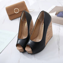 Load image into Gallery viewer, Korean Women Shoes Fish Mouth Color-splicing Wedge Platform Sandals