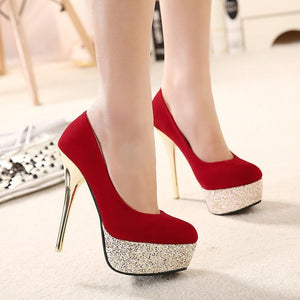 Sequined Women Shoes High Heels Platform Pumps