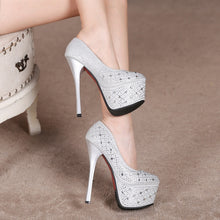 Load image into Gallery viewer, Sexy Women Shoes Rhinestone Super High-heeled Platform Pumps