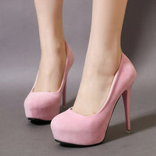 Load image into Gallery viewer, Velvet Women Shoes Round Head High Heel Platform Pumps