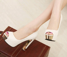 Load image into Gallery viewer, Korean Women Shoes Peep Toe High Heeled Platform Pumps