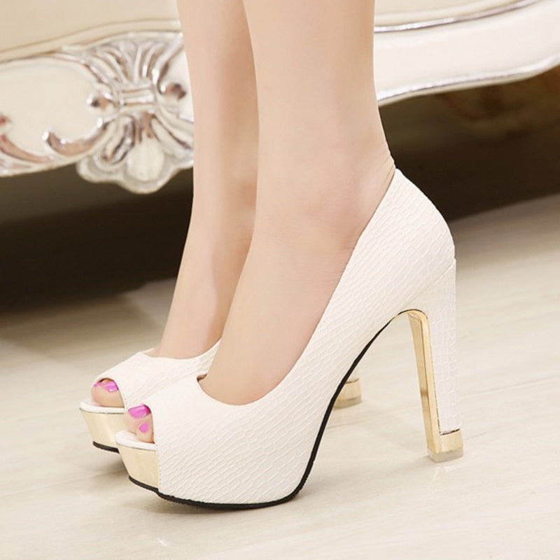 Korean Women Shoes Peep Toe High Heeled Platform Pumps