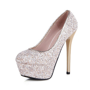 Korean Women Shoes Sequined High Heel Platform Pumps for Wedding