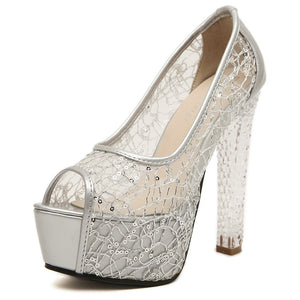 Sexy Women Shoes Crystal High Heels Platform Pumps