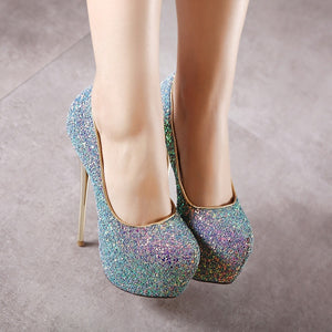 Sexy 16cm Women Shoes Sexy Sequins Stiletto Heel High Heels Platform Pumps