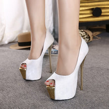 Load image into Gallery viewer, Women Shoes Super High-heeled Fish Mouth Platform Pumps Thin Heel 16cm