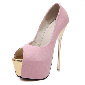 Women Shoes Super High-heeled Fish Mouth Platform Pumps Thin Heel 16cm