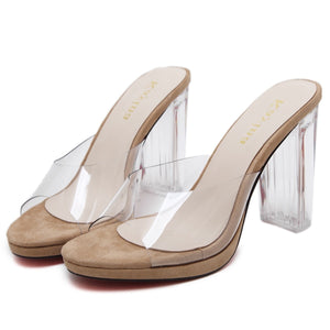 Crystal Women Shoes Transparent and Open-toed High Heels Slippers
