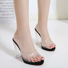 Load image into Gallery viewer, Crystal Women Shoes Transparent and Open-toed High Heels Slippers