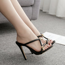 Load image into Gallery viewer, Summer Women Shoes Slippers Sexy Metal Decorative High Heel Sandals