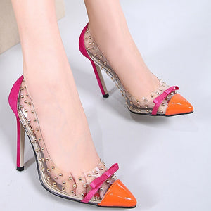 Transparent Women Wedding Shoes Rivet Pointy High Heels Pumps