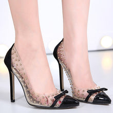 Load image into Gallery viewer, Transparent Women Wedding Shoes Rivet Pointy High Heels Pumps