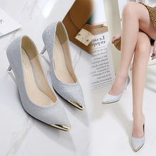 Load image into Gallery viewer, Korean Women Shoes Pointed Toe Sequined High-heeled Pumps