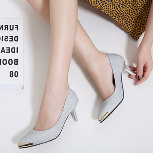 Korean Women Shoes Pointed Toe Sequined High-heeled Pumps