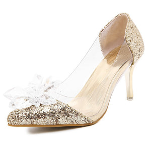 Pointed Toe Wedding Crystal Shoes Sequined High-heeled Women Pumps