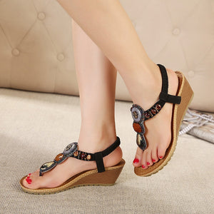 Ethnic Wind Bohemian Beads Summer Shoes Korean Roman Sandals