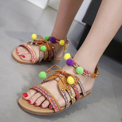 Roman sandals with ball flat-bottomed large size shoes woman