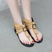 Load image into Gallery viewer, Women Shoes Belt Buckle Casual Flat Roman Sandals