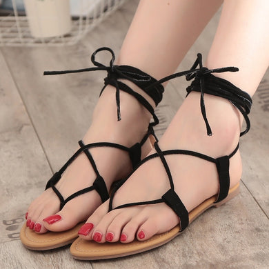 Summer Women Shoes Roman Cross Strap Hollowed Toe Sandals