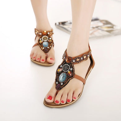 Casual Summer Shoes Folk Wind Beaded Rhinestone Flats Rome Sandals