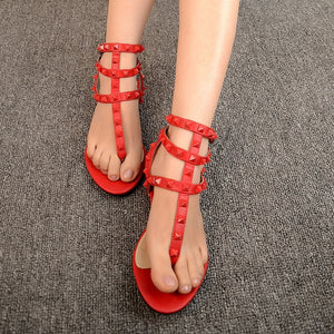 Casual Summer Shoes Flat Roman Sandals with Rivet