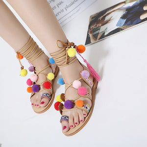 Leisure Shoes Flat-bottomed Roman Women Sandals with Ball