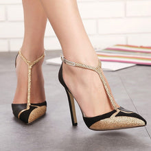 Load image into Gallery viewer, Sexy Women Shoes Pointed Toe Thin Heel High Heel Sandals with Rhinestone