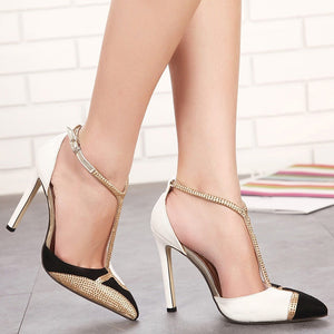 Sexy Women Shoes Pointed Toe Thin Heel High Heel Sandals with Rhinestone