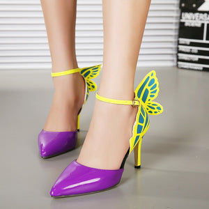 Summer Women Shoes Hollow Butterfly Wing High Heels Sandals