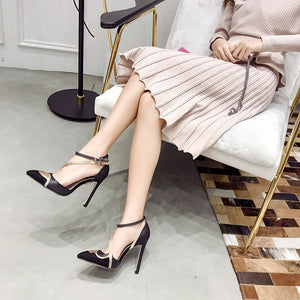 Pointed Toe Women Shoes Rhinestone Hollow High Heel Sandals