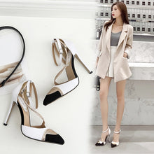 Load image into Gallery viewer, Pointed Toe Women Shoes Rhinestone Hollow High Heel Sandals