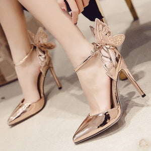 Sexy Women Shoes Butterfly Wings Embroidered Hollow Pointed Toe Sandals Stiletto High Heels