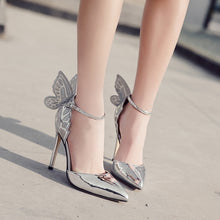Load image into Gallery viewer, Sexy Women Shoes Butterfly Wings Embroidered Hollow Pointed Toe Sandals Stiletto High Heels