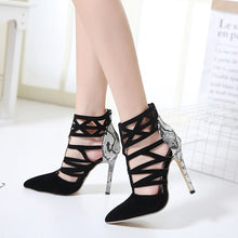 Load image into Gallery viewer, Sexy Women Shoes with Hollowed Snake-striped High Heeled Sandals