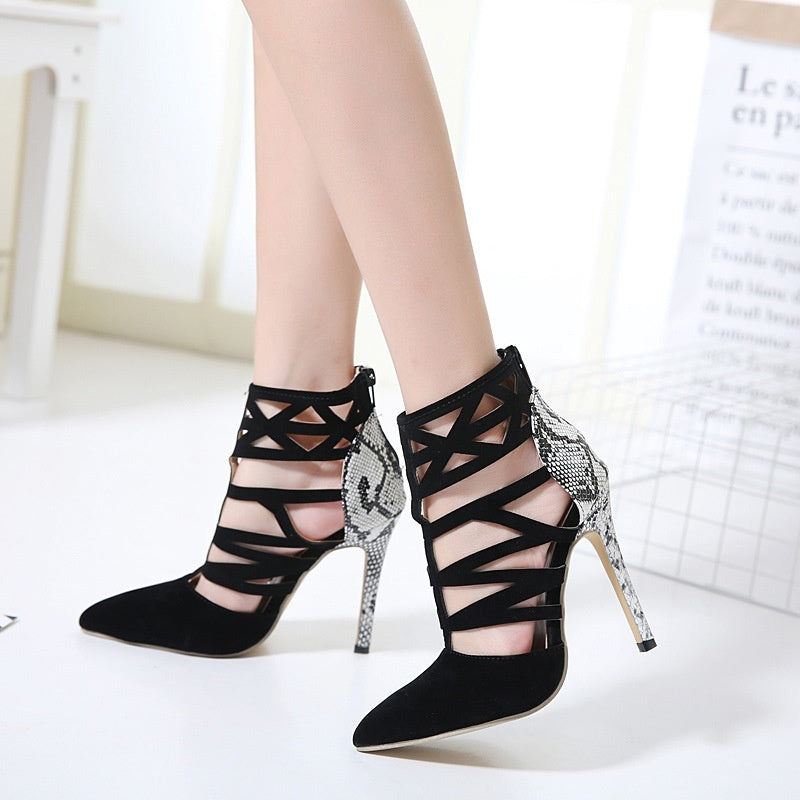 Sexy Women Shoes with Hollowed Snake-striped High Heeled Sandals