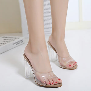 Crystal Transparent Women Shoes High Heel Sandals Slippers