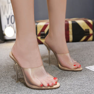 Sexy Transparent Crystal  Women Shoes Sandals and Slippers